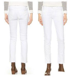 Mother The Ponyboy Fray Cuffed Jeans White
